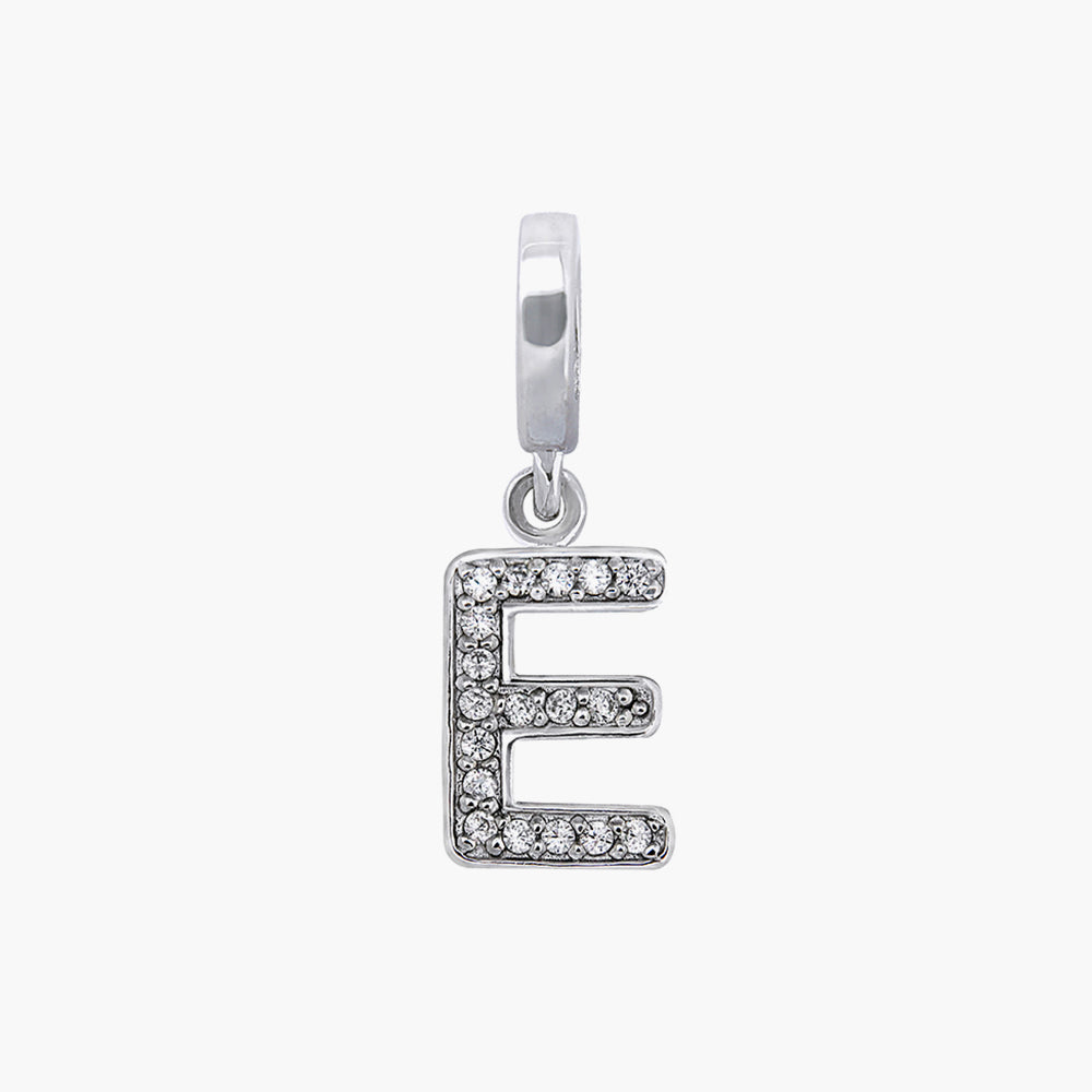 Letter E silver dangle bead