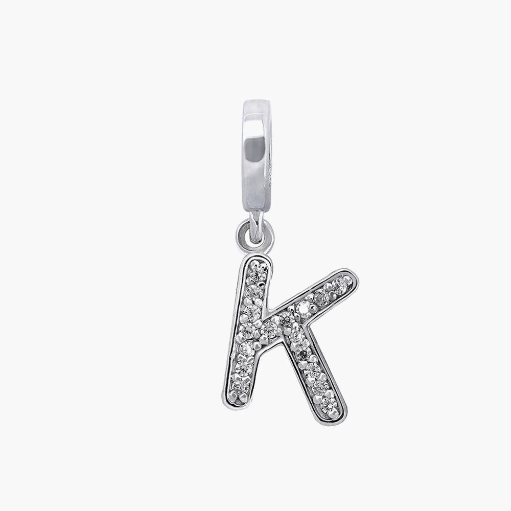 Letter K silver dangle bead