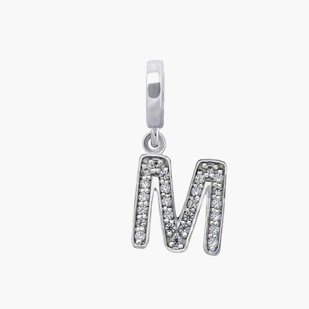Letter M silver dangle bead