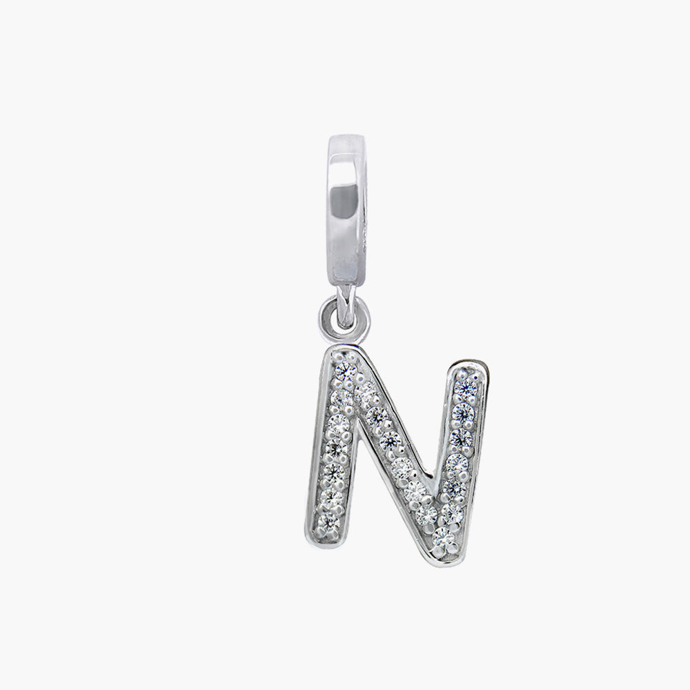 Letter N silver dangle bead