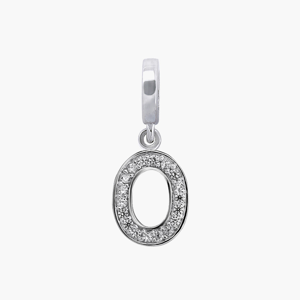Letter O silver dangle bead