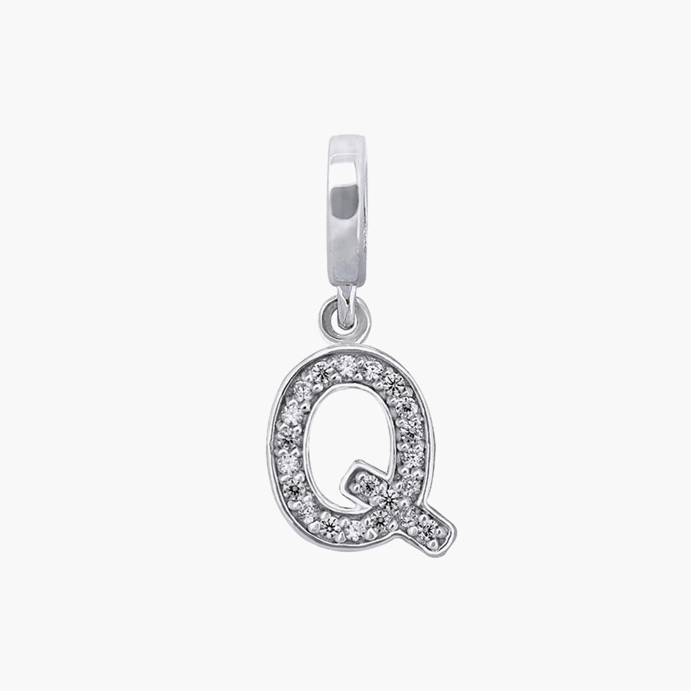 Letter Q silver dangle bead