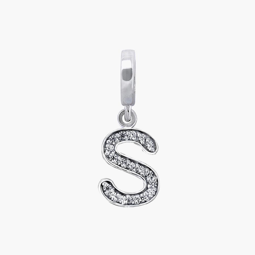 Letter S silver dangle bead
