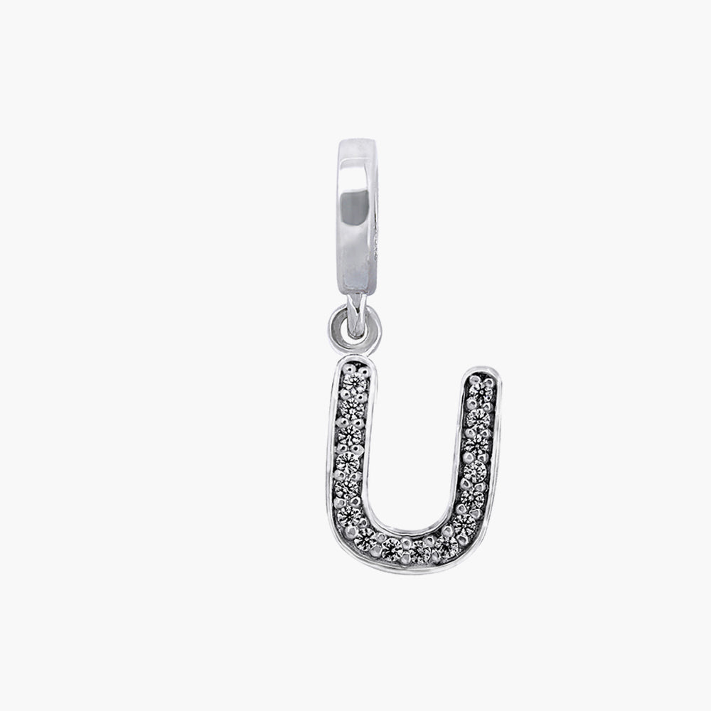 Letter U silver dangle bead