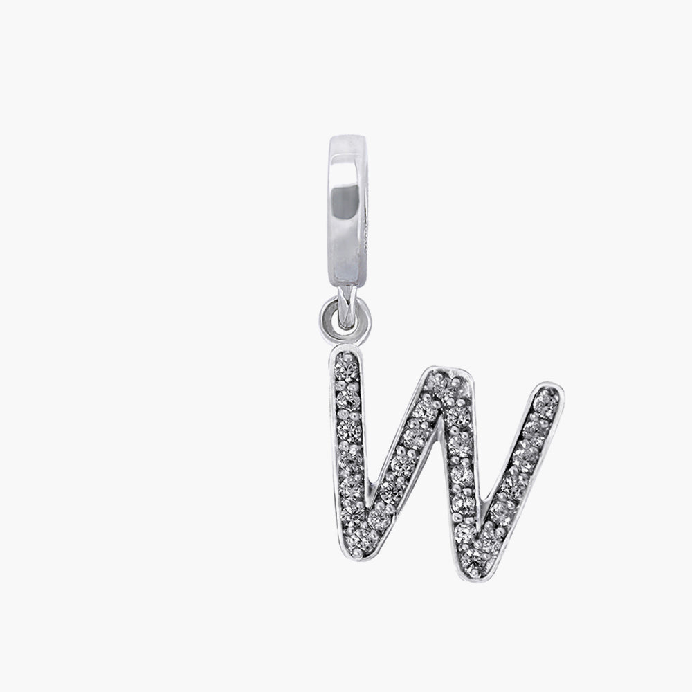 Letter W silver dangle bead
