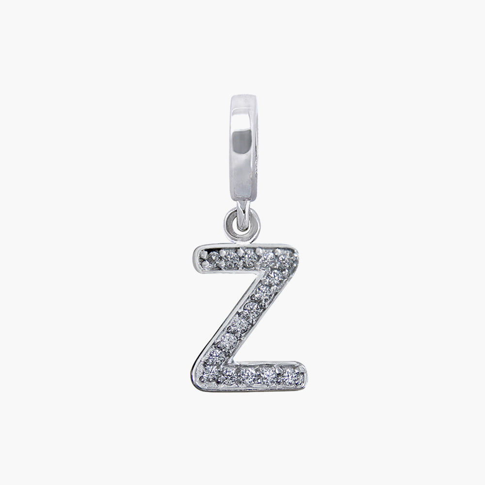 Letter Z silver dangle bead