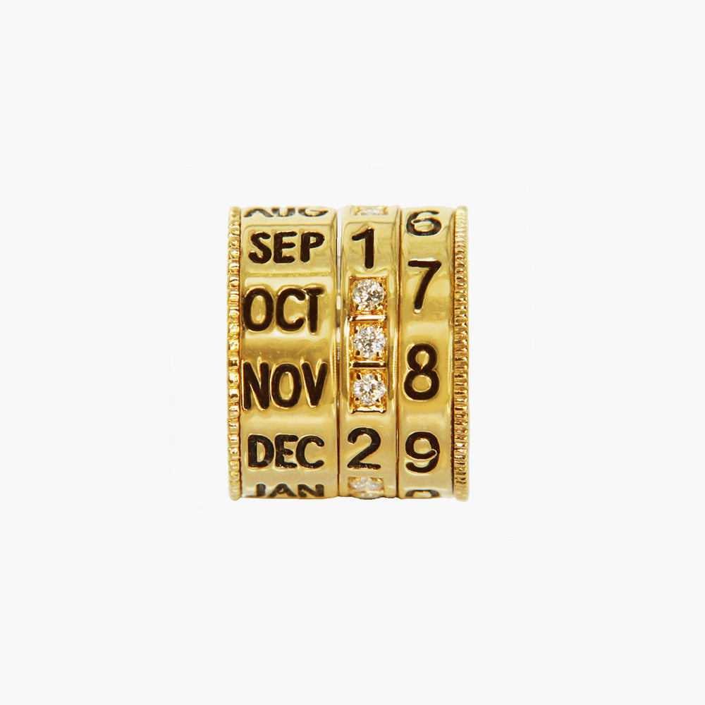GOLD DIAMOND CALENDAR BEAD