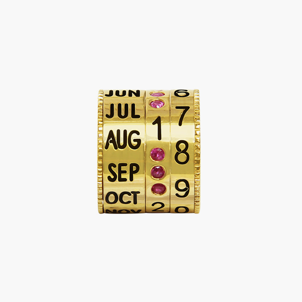 GOLD RUBY CALENDAR BEAD
