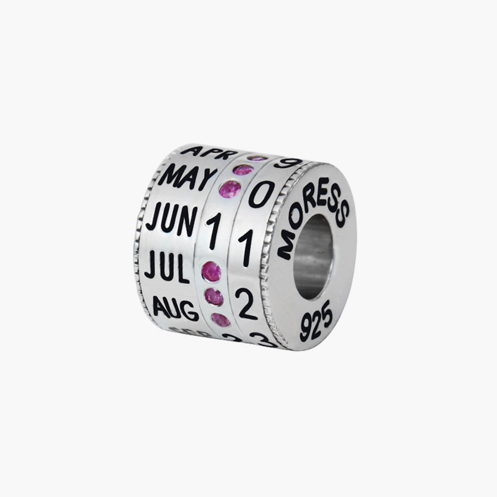 RHODIUM RUBY CALENDAR BEAD