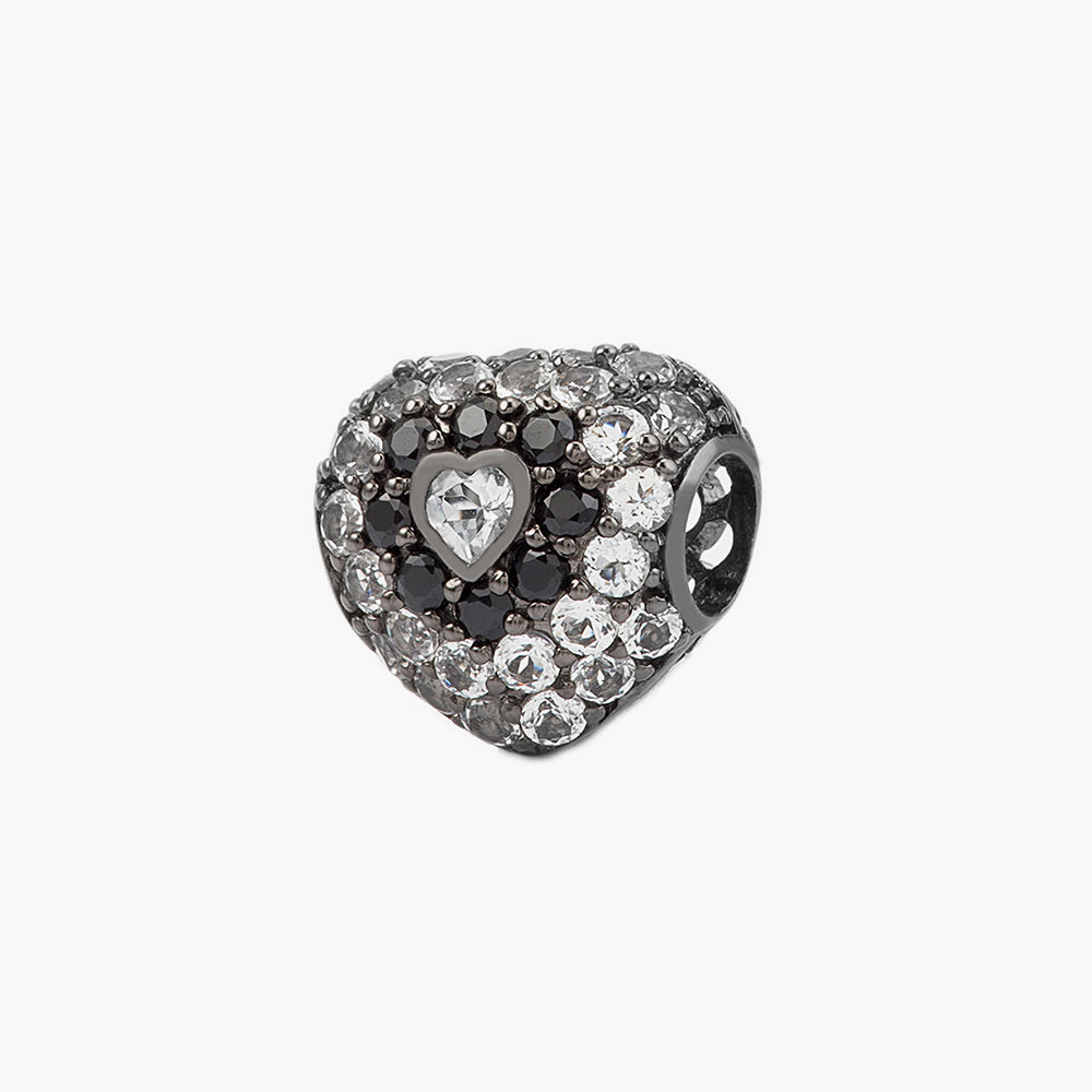 Black Spinel/White Topaz Heart Bead