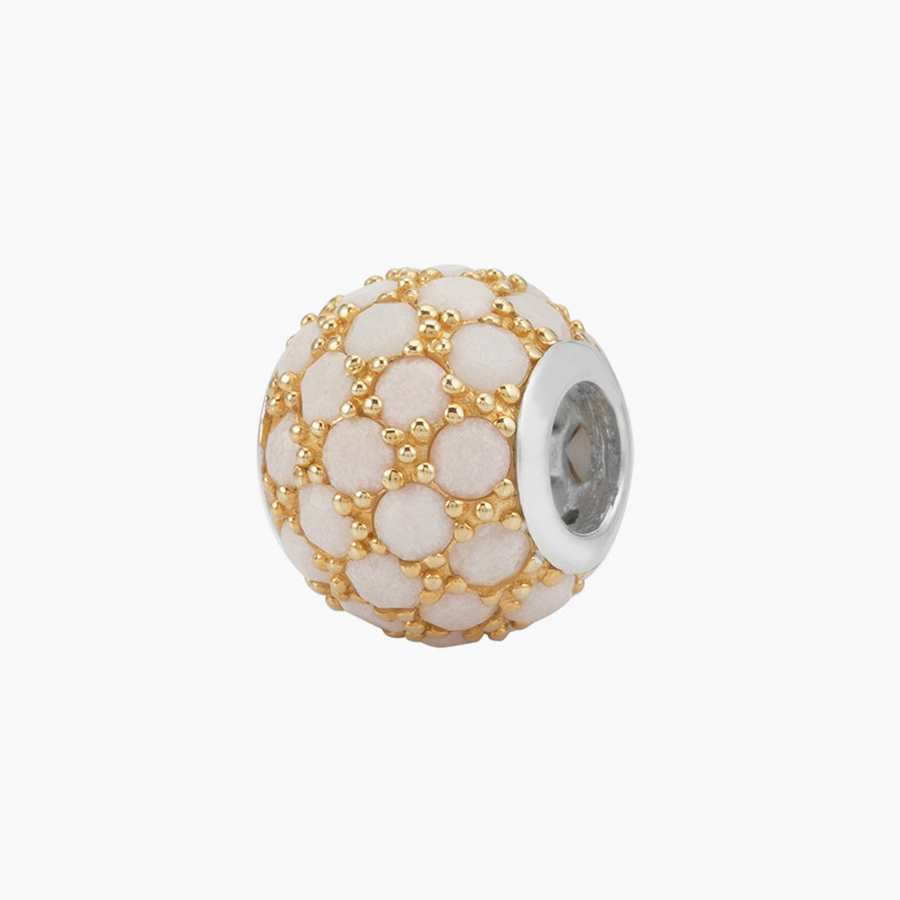 White Agate Gold Plated Bead