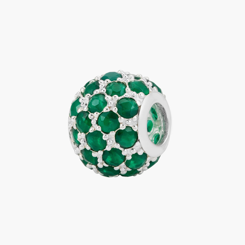 Green Agate Silver Bead