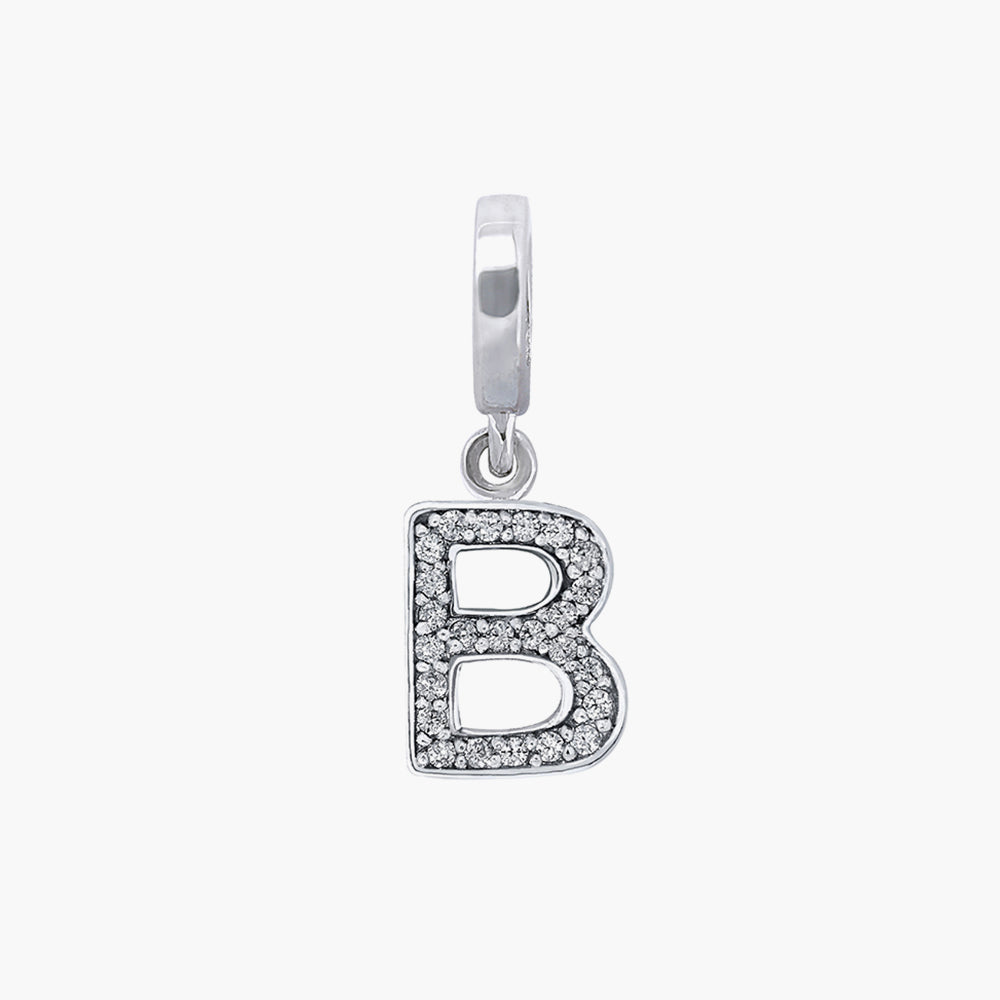 Letter B silver dangle bead