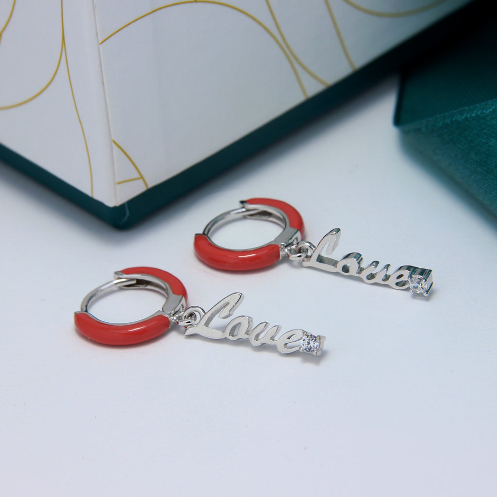 Love Earring with Enamel