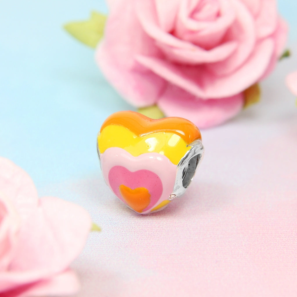 Orange Rainbow Heart Bead