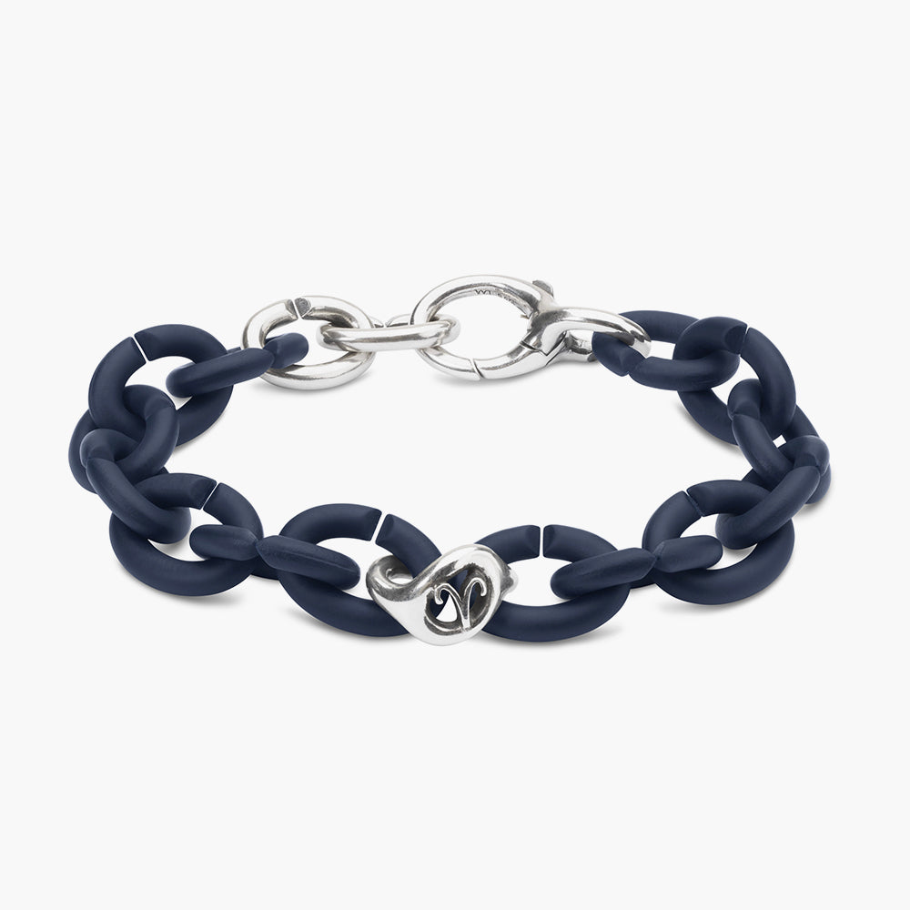 Steel blue Aries silver bracelet