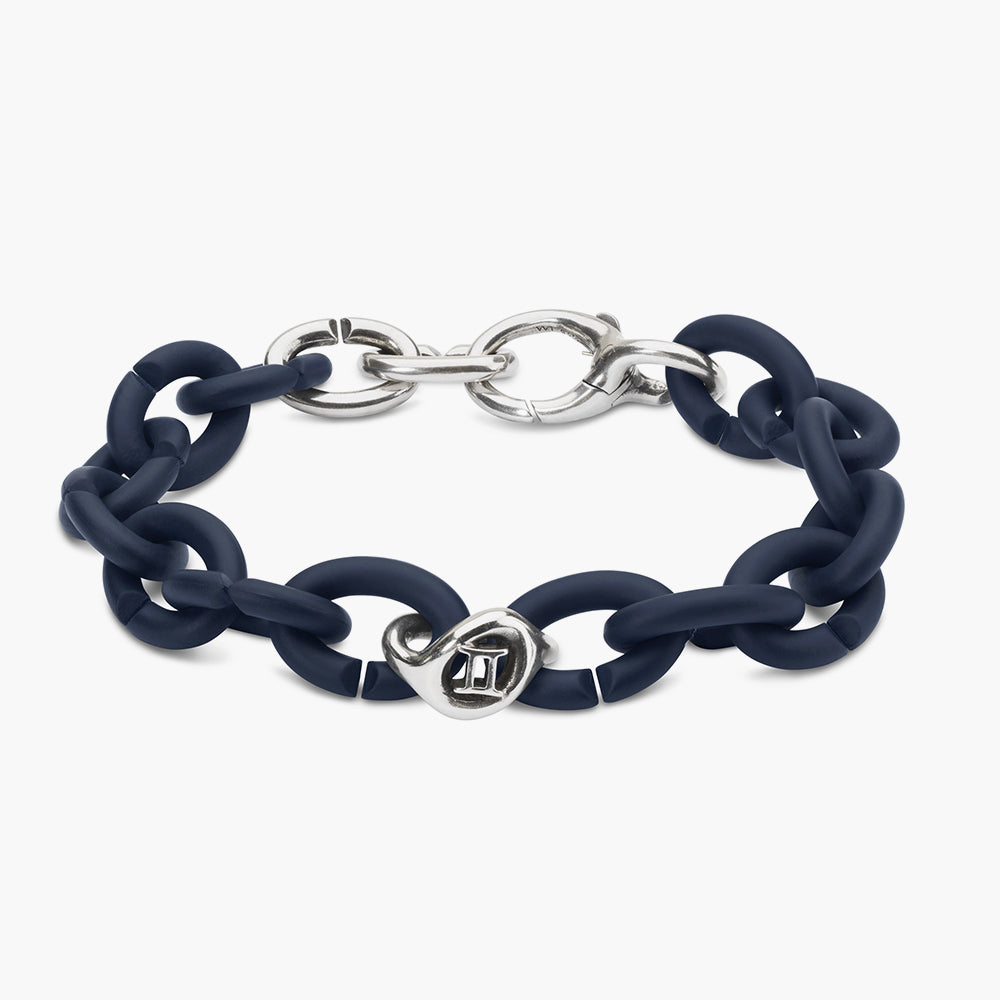 Steel blue cancer silver bracelet