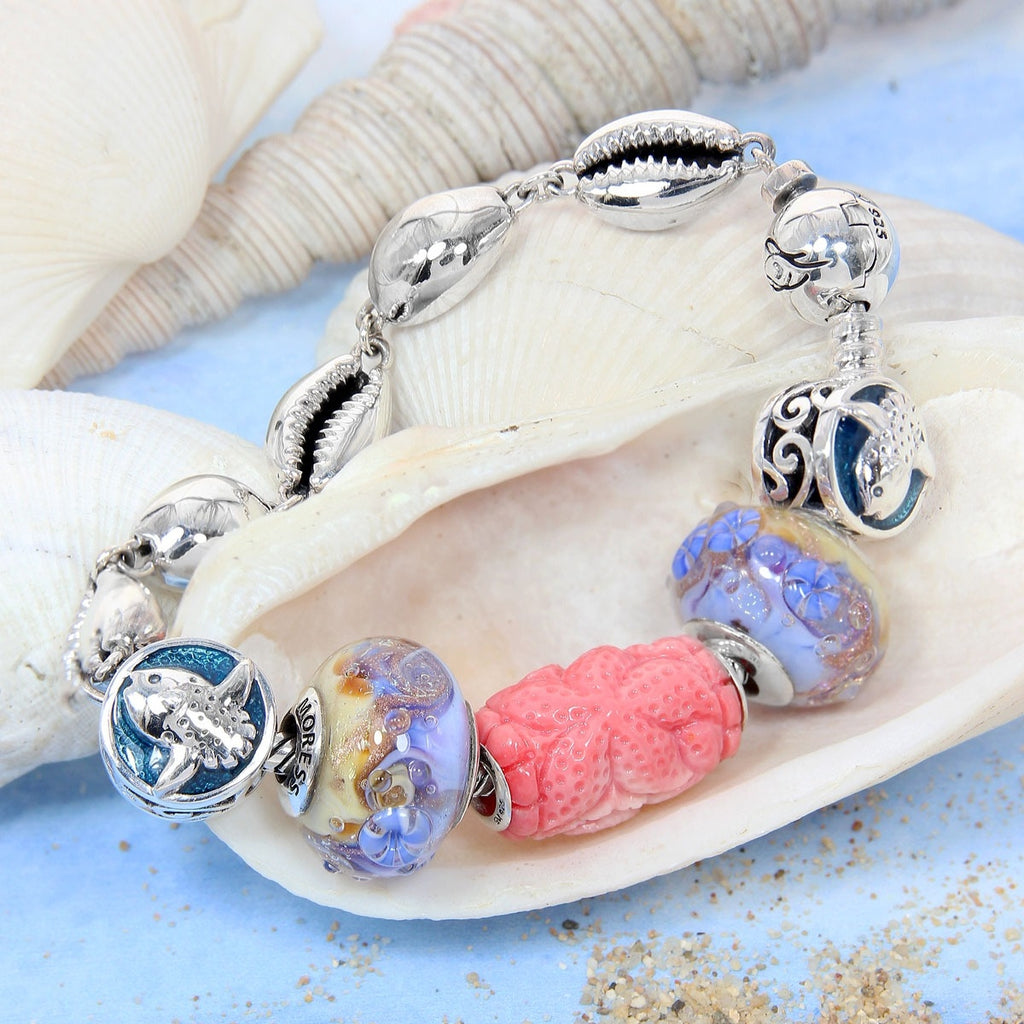 Conch Shell Carved Bead - Roses & Starfish