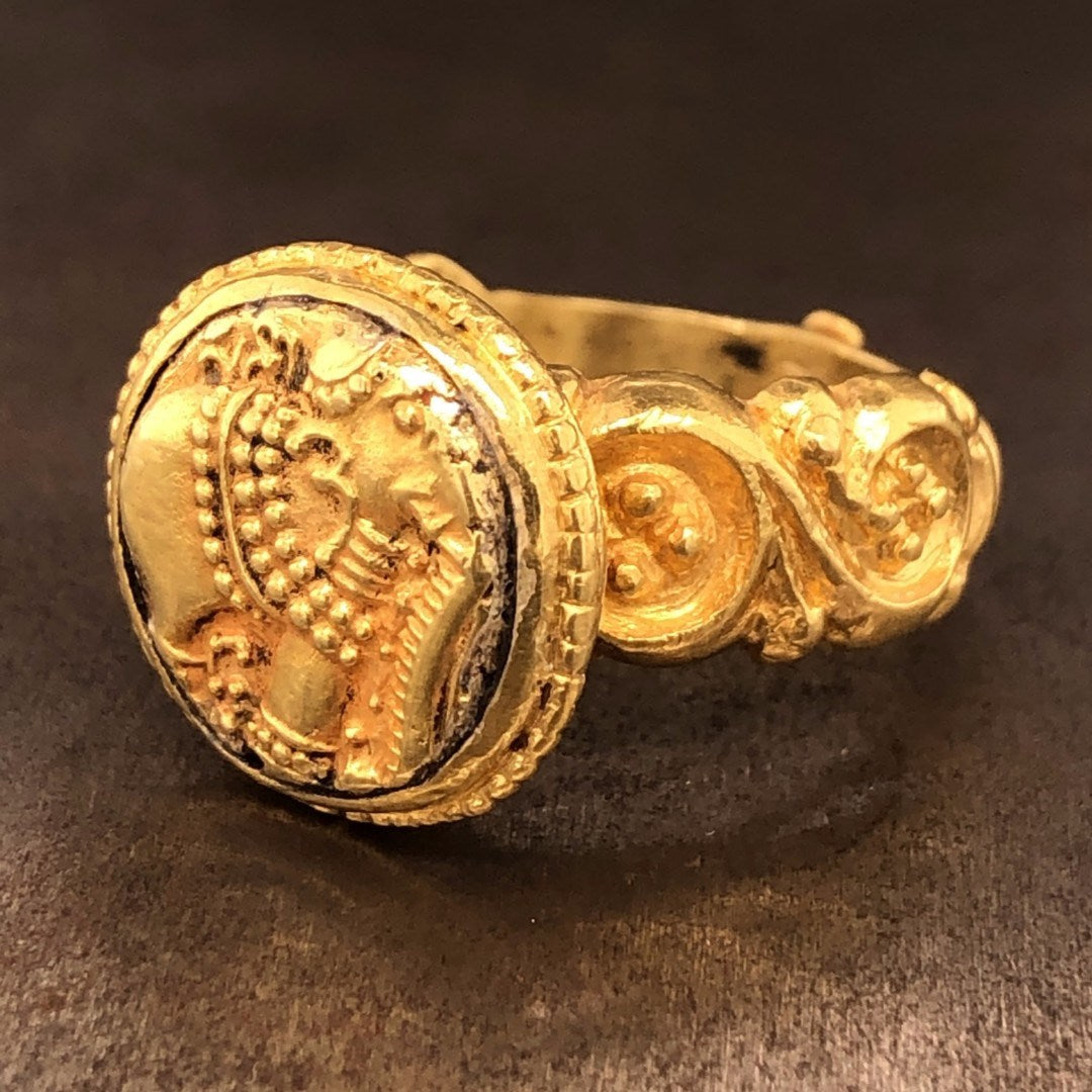 18K Gold Antique Coin Ring