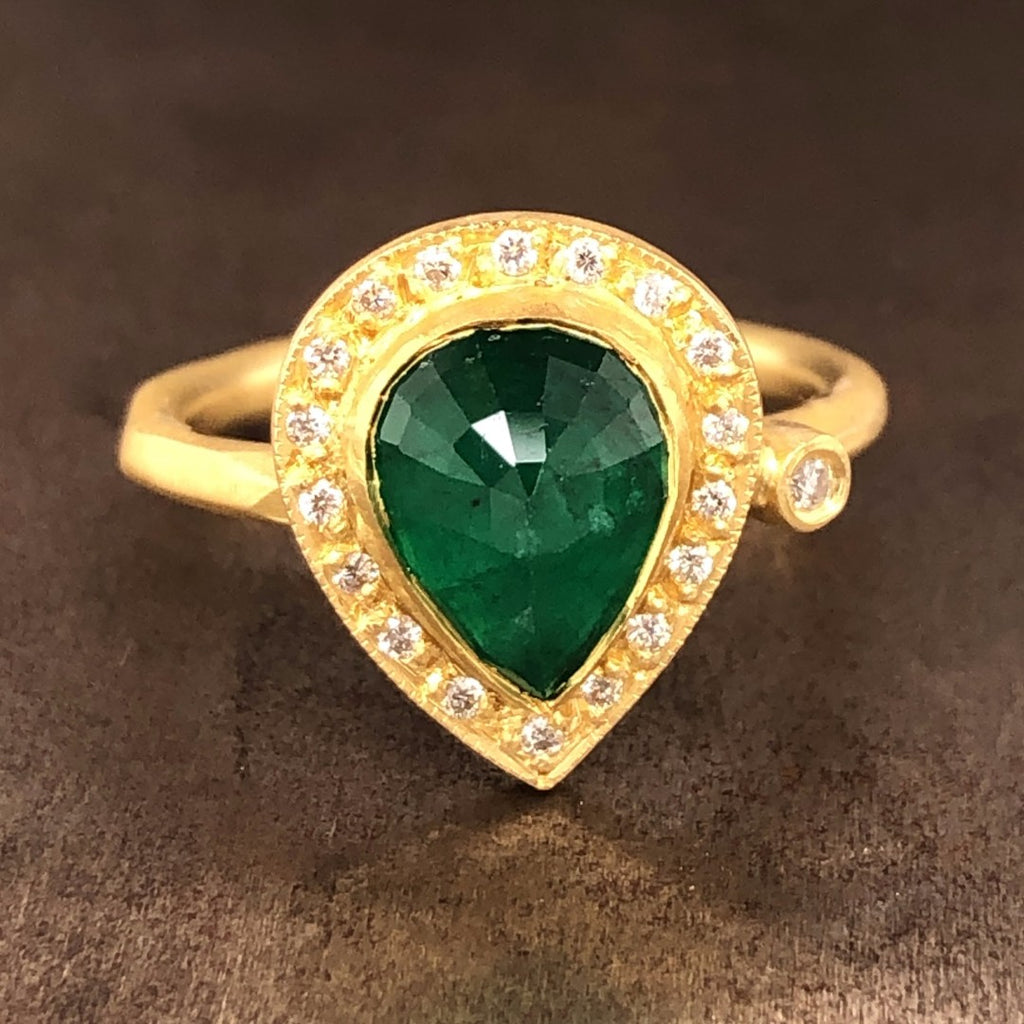 Emerald & Diamond Pear Ring