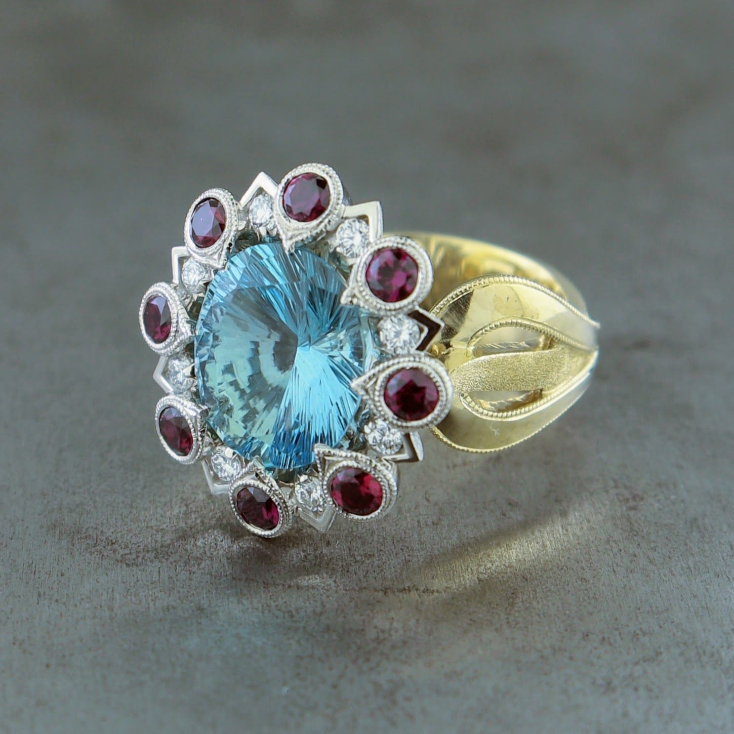 Firework Aquamarine Ring
