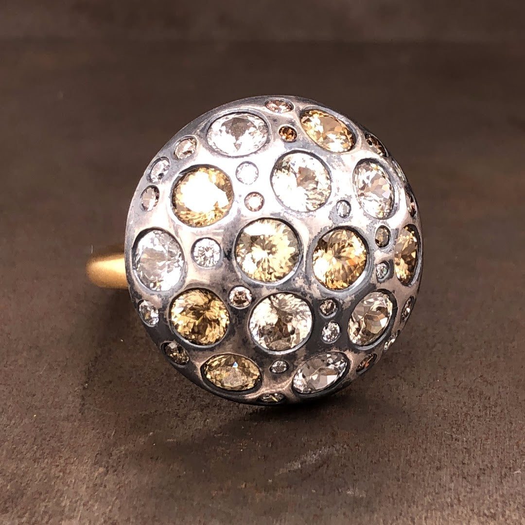 18k yellow gold and sterling silver shield ring with diamond and natural zircon