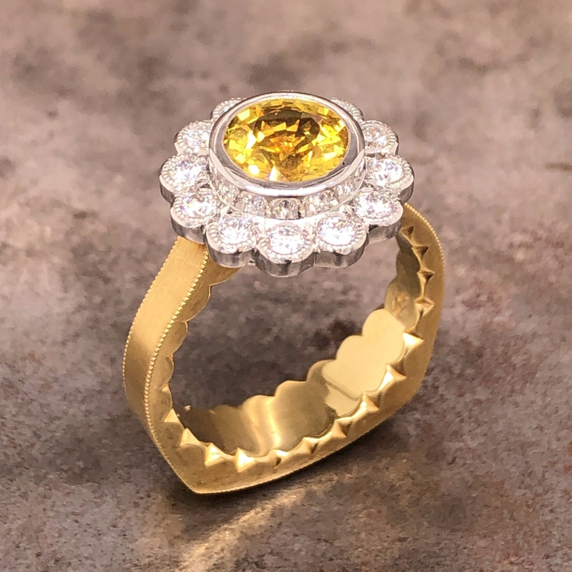 18k yellow gold and platinum yellow sapphire and diamond ring