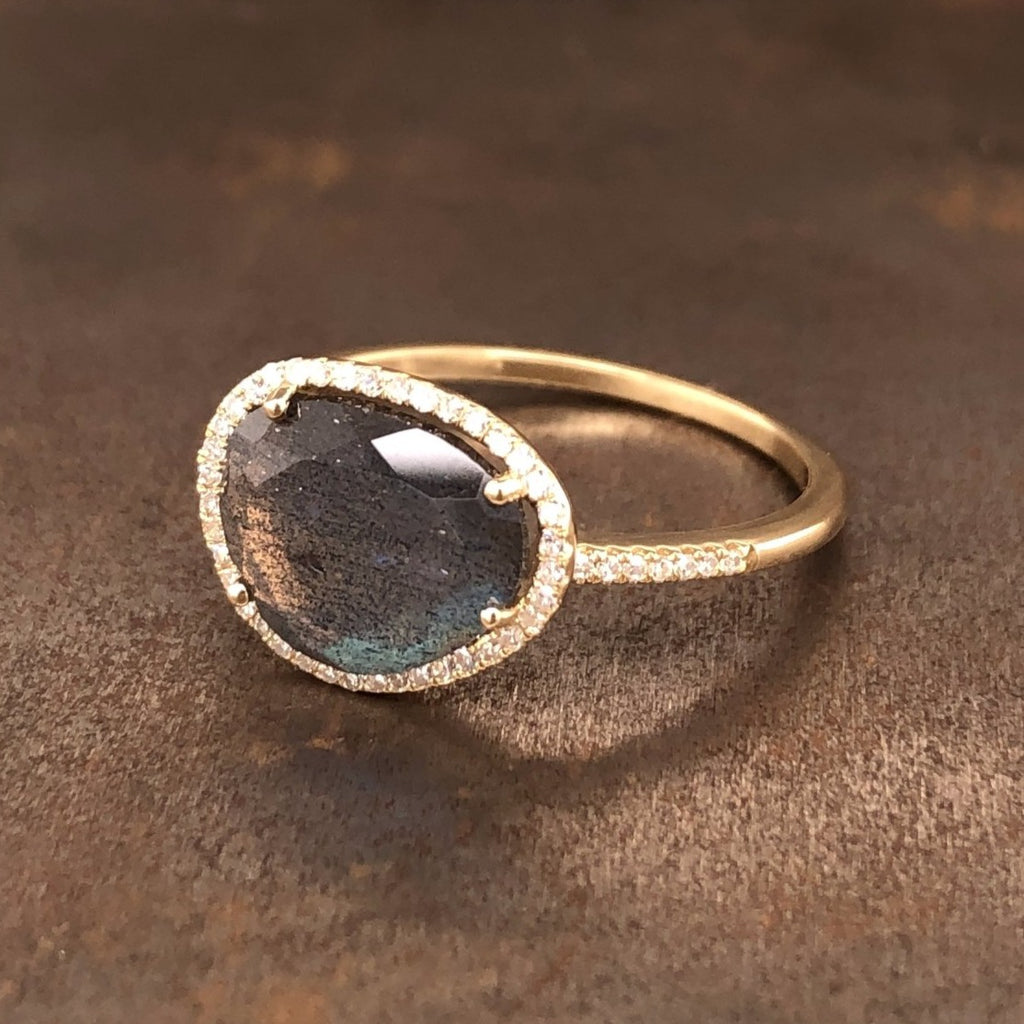14k yellow gold labradorite and diamond ring