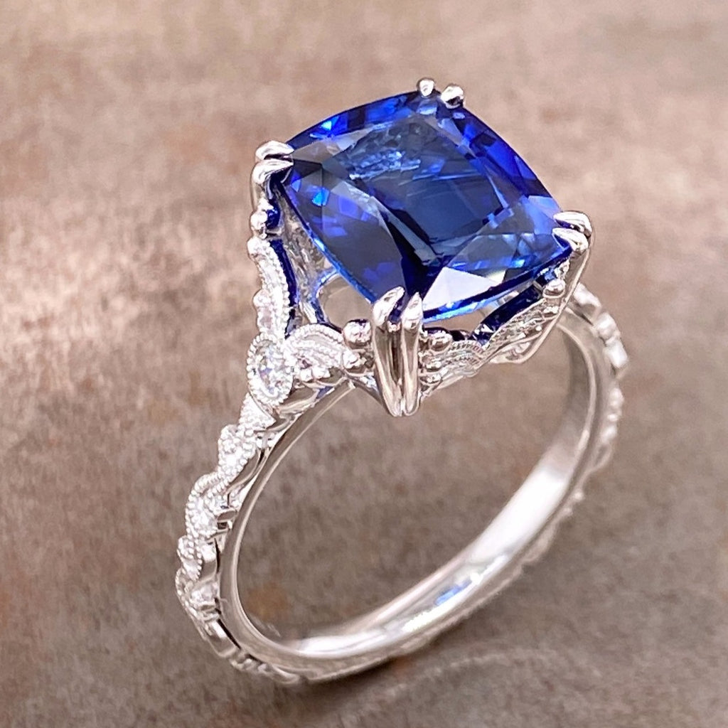 blue sapphire and white gold ring