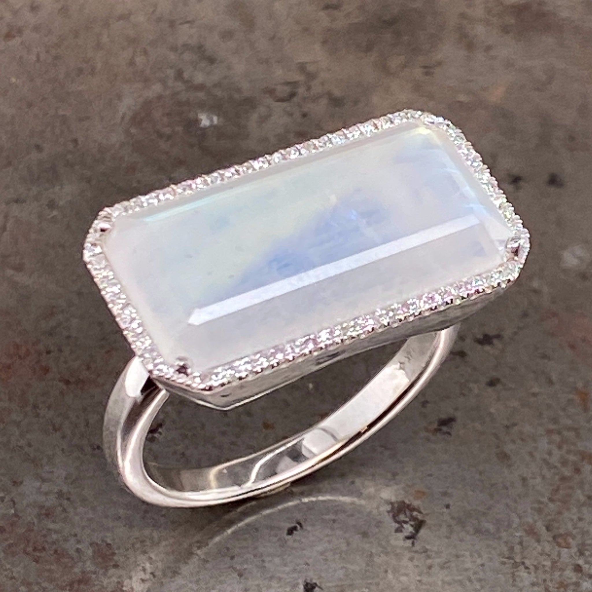 moonstone and diamond 14k white gold ring