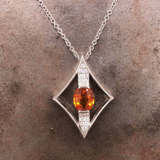 18K White Gold Orange Sapphire Pendant Necklace