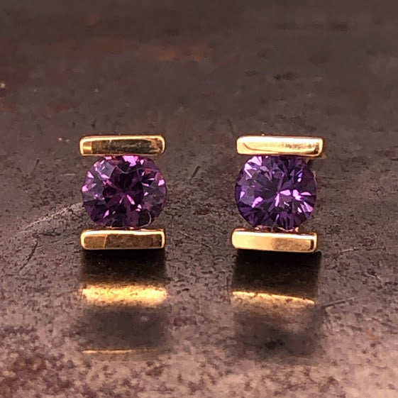 18K Yellow Gold Purple Sapphire Stud Earrings