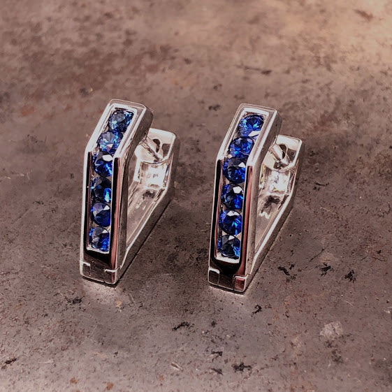 18K White Gold Blue Sapphire Earrings
