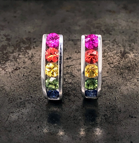 18K White Gold Rainbow Sapphire Earrings