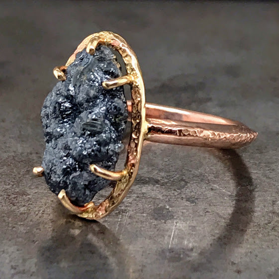 Raw Diamond 14K Rose & Yellow Gold Ring