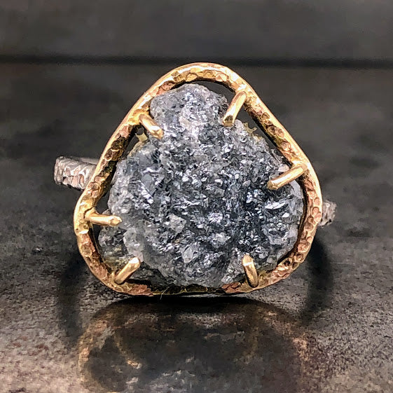Raw Diamond 14K Yellow Gold & Oxidized Silver Ring