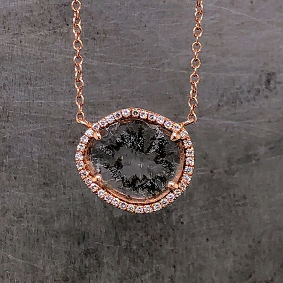 Diamond Slice 14K Rose Gold Necklace