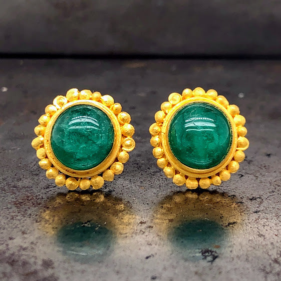 Emerald 22K Yellow Gold Studs