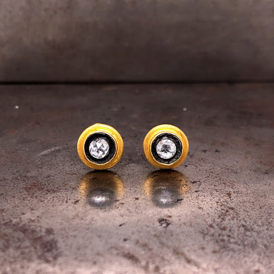 24K Yellow Gold & Oxidized Silver Diamond Studs