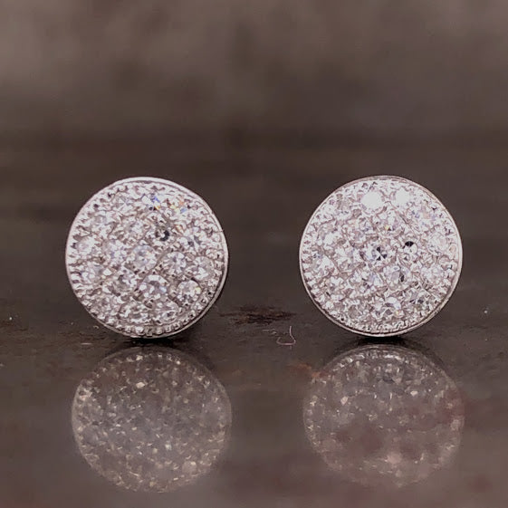 14K White Diamond Disc Earrings