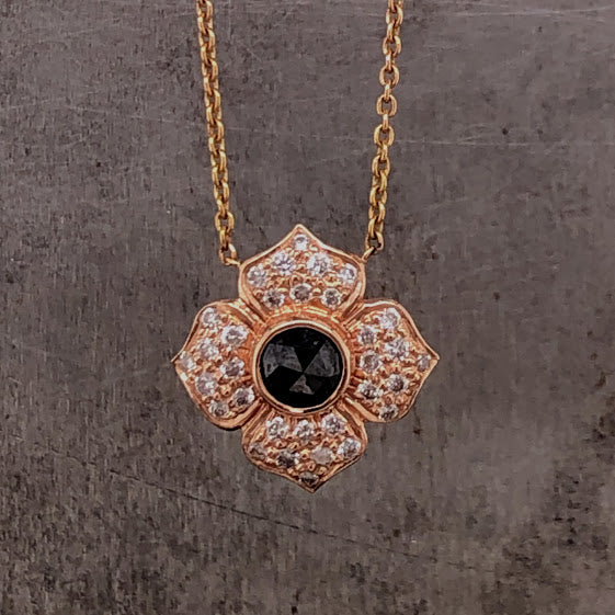 Black Diamond Flower Necklace