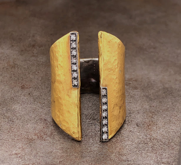 24K Hammered Yellow Gold Open Ring
