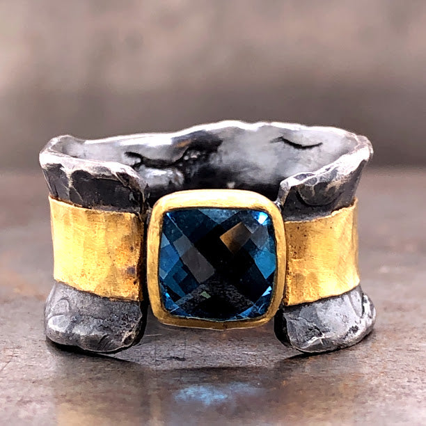 Rugged Blue Topaz Ring