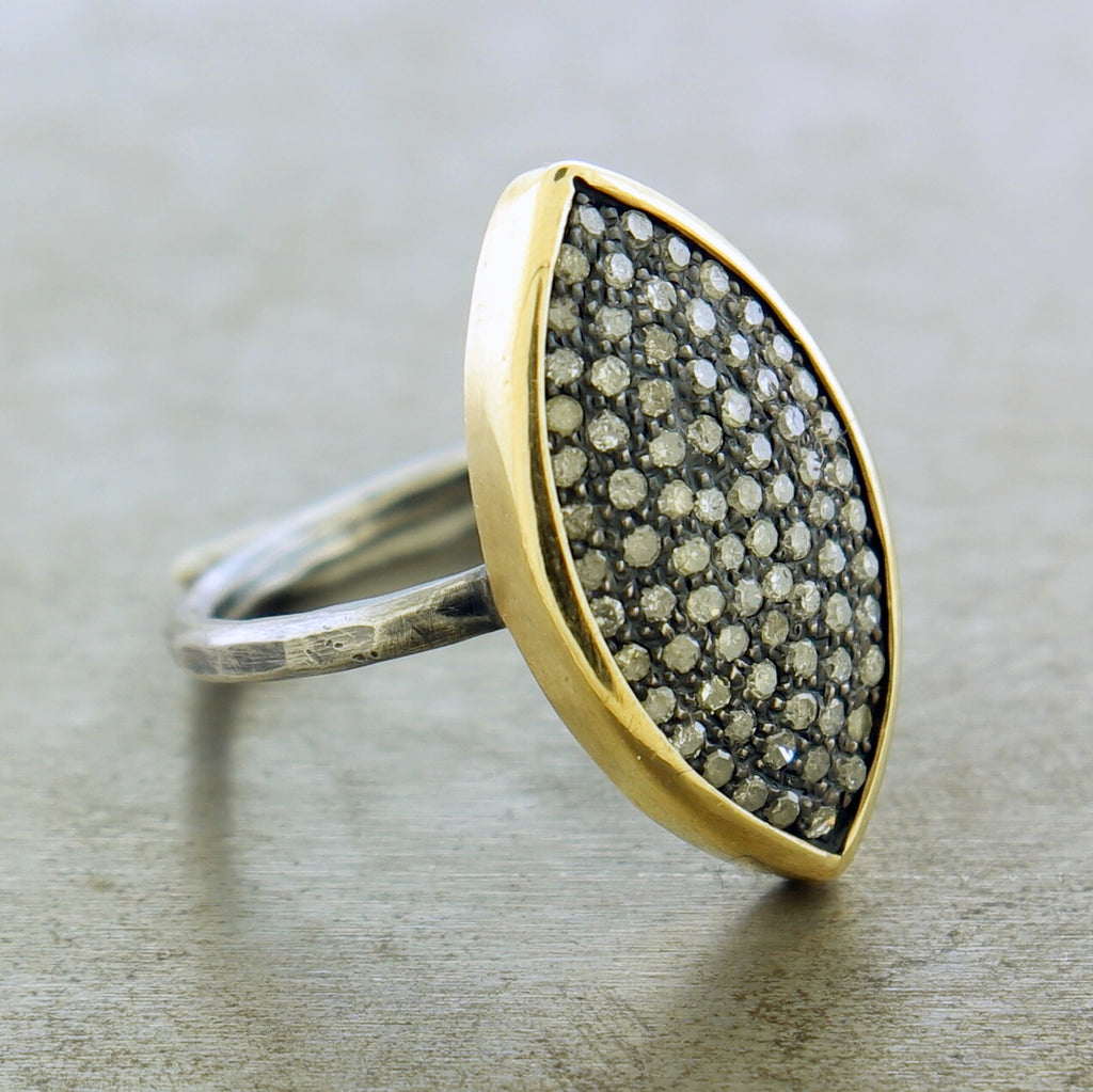 24K YELLOW GOLD DIAMOND MARQUISE RING