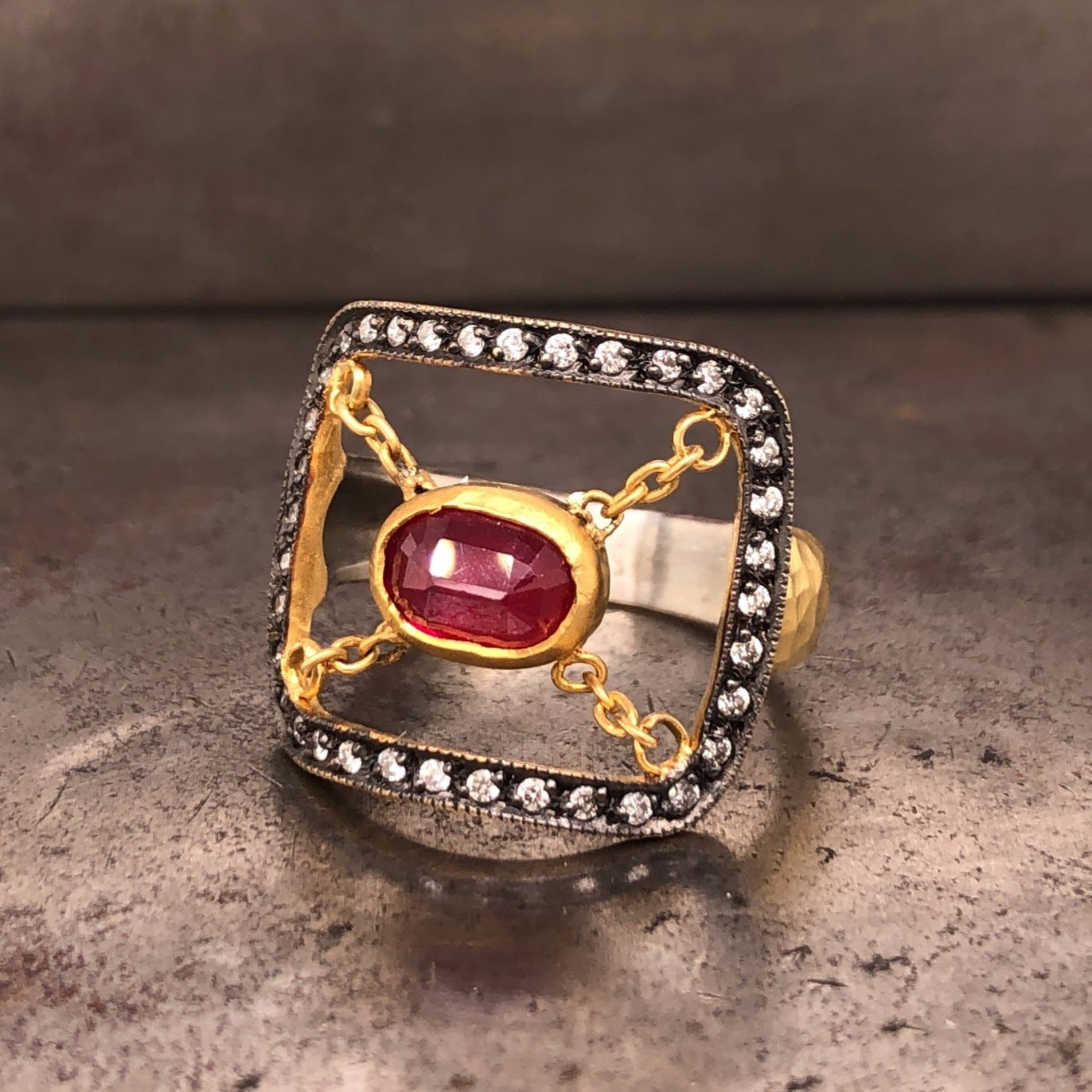 Suspended Ruby Box Ring