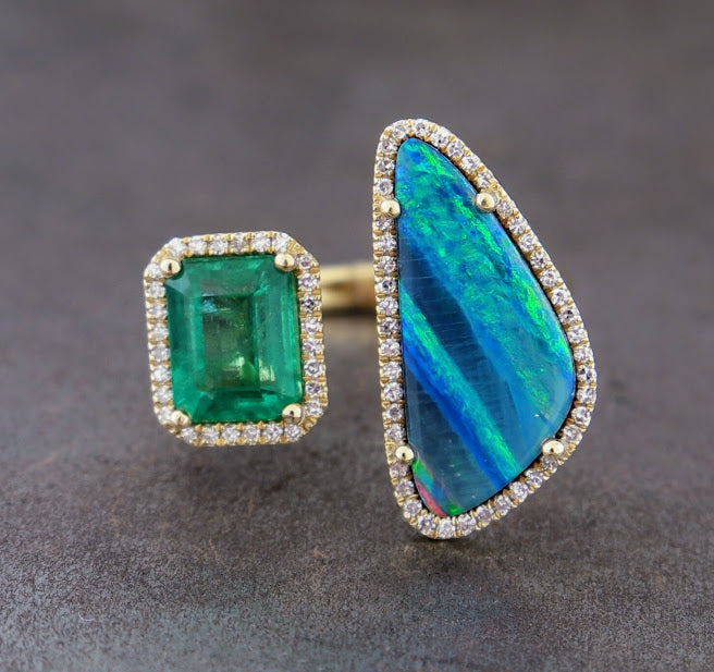 Opal & Green Diamond Ring