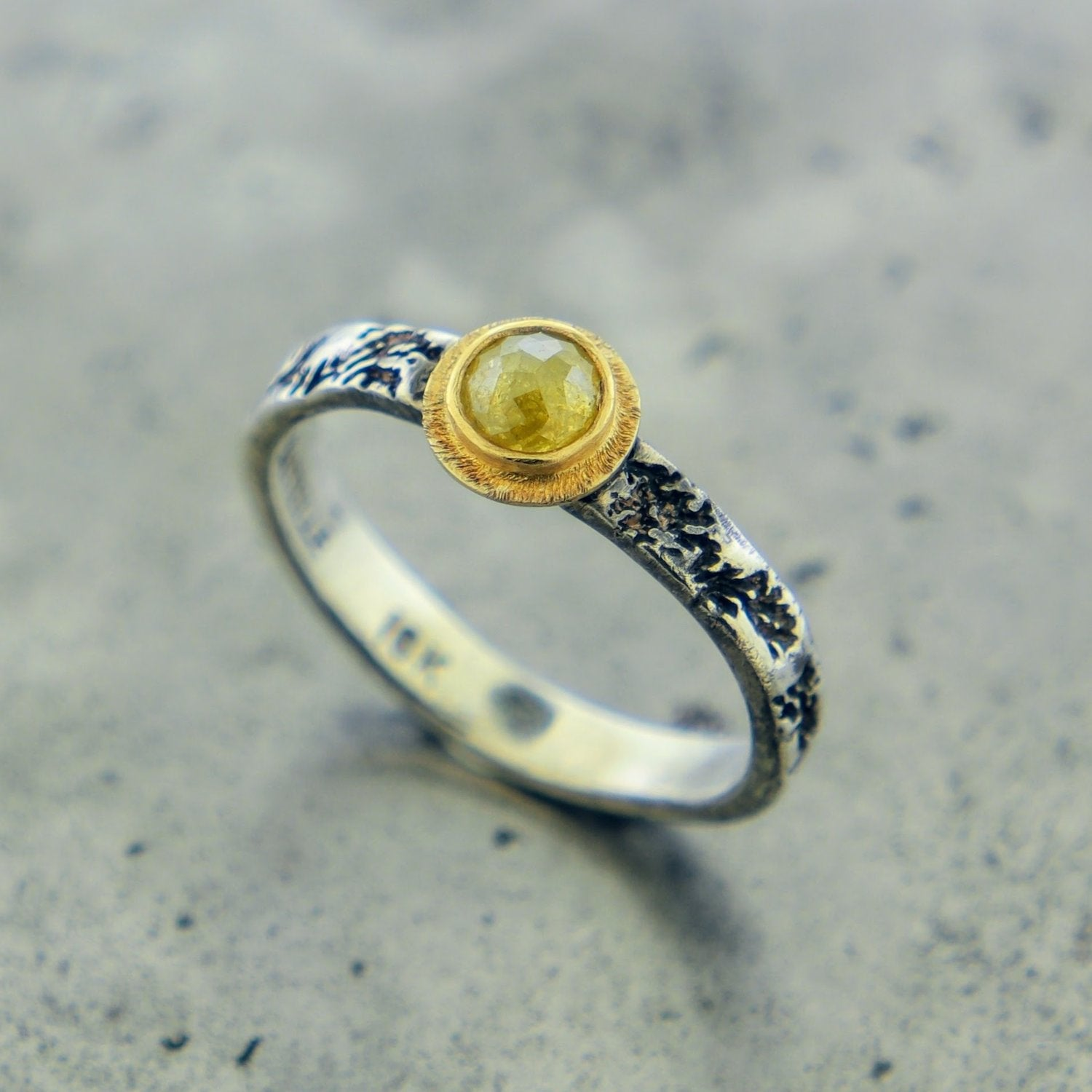 STERLING SILVER AND YELLOW DIAMOND RING