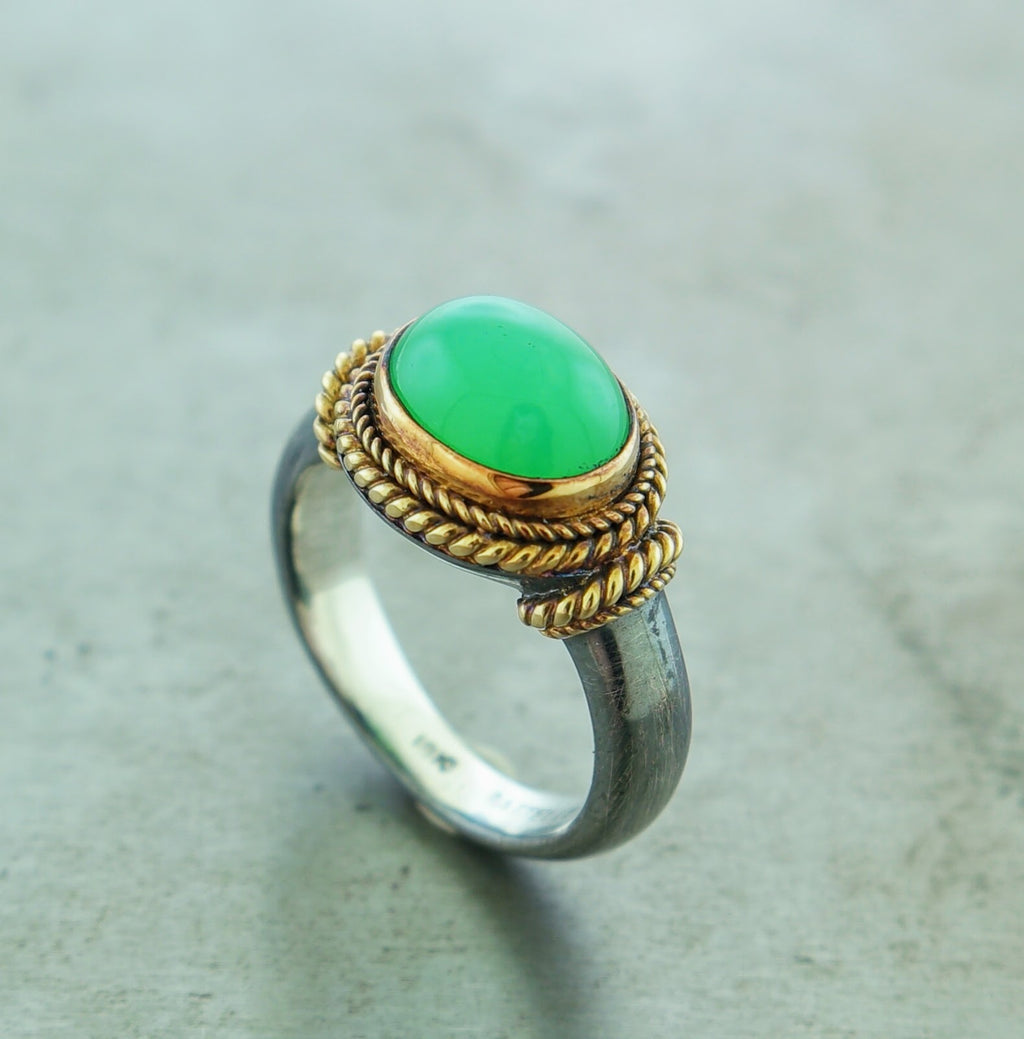 Chalcedony Oxidized Sterling Silver 18k Yellow Gold Ring