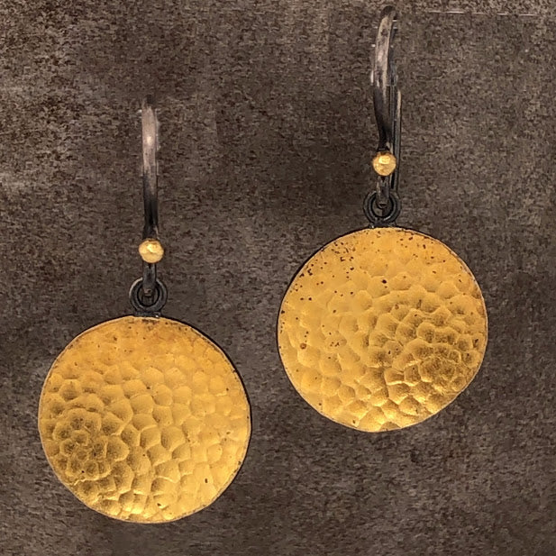24K Hammered Yellow Gold Disk Earrings