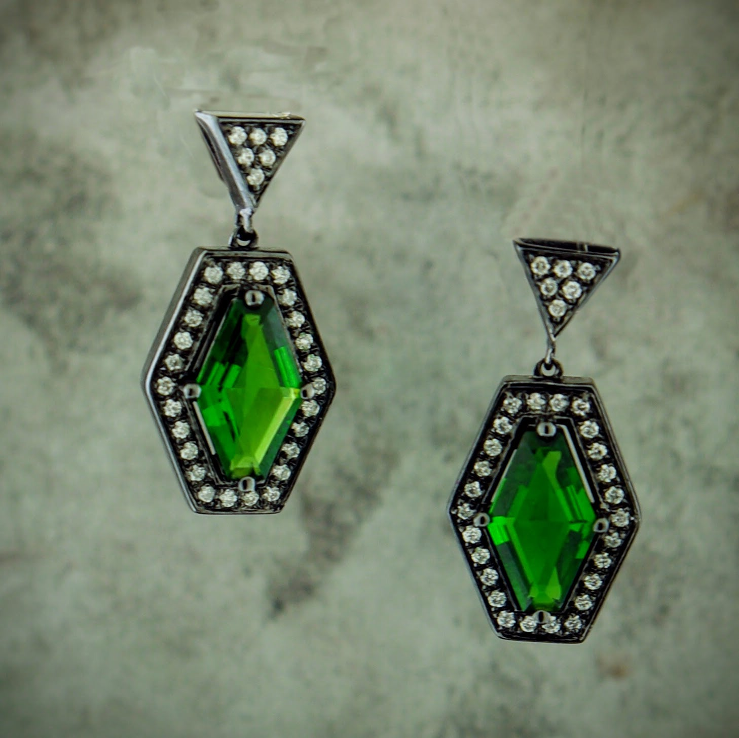 Silver Diopside & Diamond Earrings